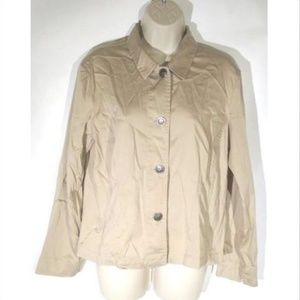 Chico's Womens Blouse Top Tan Button Front Size 1
